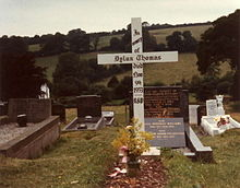 Grave of Dylan Thomas in Laugharne cemetery